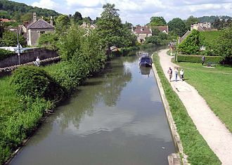 Bathampton - The Kennet and Avon Canal passes around the edge of the village