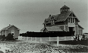 Cape Hatteras - The Cape Hatteras Life Guard Station, which later became part of the Durant Motel, and was upended by Hurricane Isabel in 2003