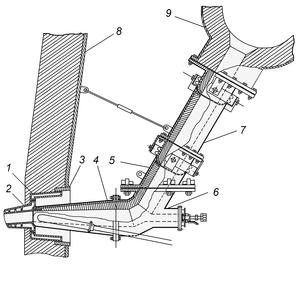 Tuyere - Image: Cardan type tuyere stock — Фурменний рукав сильфонний з компенсатором карданного типу