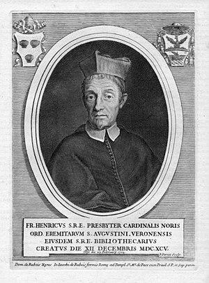 Henry Noris - Engraved eighteenth century portrait of Cardinal Enrico Noris (1695-1704)