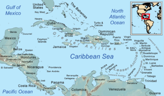 Leeward Islands - The Leeward Islands are labelled on the map's middle right side.