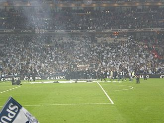 2008 Football League Cup Final - The Tottenham players celebrate after having won their first trophy in nine years.