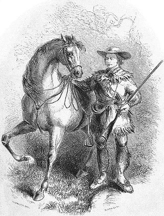 Kit Carson - Mountain man Kit Carson and his favorite horse, Apache, from The Life and Adventures of Kit Carson, the Nestor of the Rocky Mountains by De Witt C. Peters. The book was Carson's first biography, and was printed in 1858.