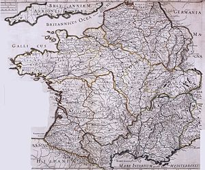 Granville, Manche - Map of Roman Gaul, established in the 18th century; Grannonũ (read Grannonum) appears above the territory of the Abrincatui.