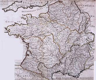 Granville, Manche - Map of Roman Gaul, established in the 18th century; Grannonũ (read Grannonum) appears above the territory of the Abrincatui.