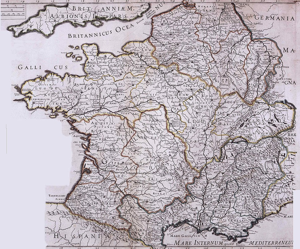 Carte de la Gaule antique du 18ème siècle