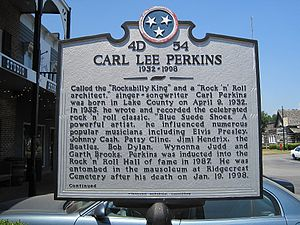 Carl Perkins - Historic marker commemorating Perkins alongside other famous peers