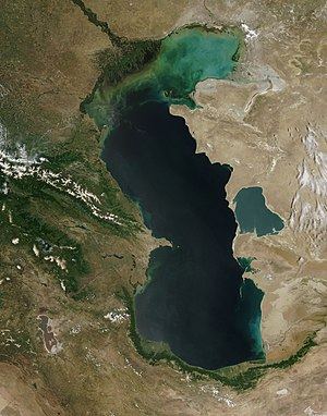 Caspian Sea - The Caspian Sea as captured by the MODIS on the orbiting Terra satellite, June 2003