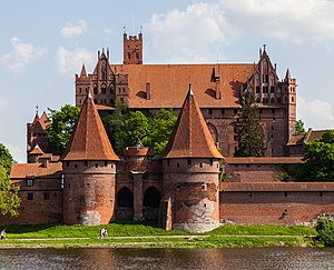 Malbork - Malbork Castle viewed over the Nogat River