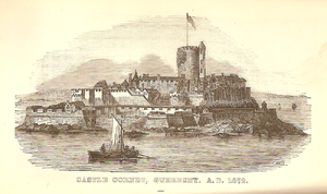 Crevichon - An engraving of Castle Cornet 1672, showing the keep that was destroyed by an explosion later that year. Much of its stone came from Crevichon