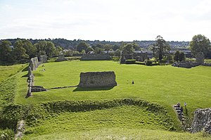 Historic preservation - The ruins of Berkhamsted castle (viewed from its Norman motte) and Berkhamsted Common were the location of two successful early preservation events in the nineteenth century. (Enlarged: A train passes Berkhamsted castle, on an embankment that was once part of the castle's outer defences.)