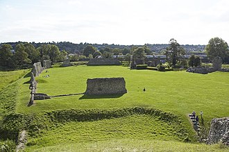 Berkhamsted -  The castle's bailey viewed from the Norman motte. (Enlarged: A train can be seen passing close to the castle, with the town to the south beyond).