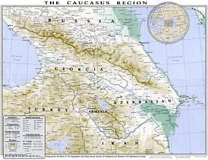 Transcaucasia - 1994 map of Caucasus region prepared by the US State Department.