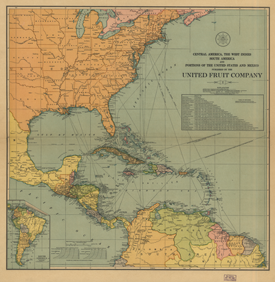Route Map of the Great White Fleet of the United Fruit Company, which had the monopoly of freight and passenger maritime transportante to and from Puerto Barrios in Guatemala since 1903. Central America, the West Indies South America and Portions of the United States and Mexico WDL62.png
