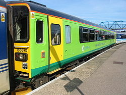 153375 at Lincoln Central railway station. At this time, the unit was Central Trains operated but is now employed by London Midland.