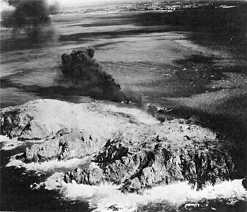 Cezembre island after bombing in August 1944