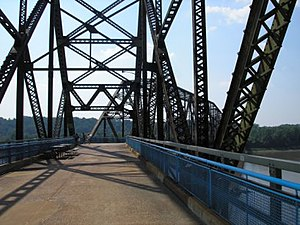 U.S. Route 66 - The Chain of Rocks Bridge across the Mississippi River was built to carry the growing traffic of US 66 around the city of St. Louis