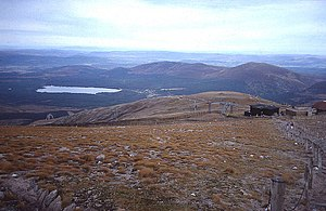 Cairngorm Plateau Disaster - From the path up to Cairn Gorm summit, looking back down to Ptarmigan restaurant, October 1991