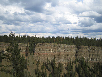 Chilcotin Group - Cliffs made of low viscosity lava flows in Chasm Provincial Park suggest extensive volcanic activity in the Chilcotin Plateau Basalts