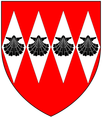 Edmund Cheyne (died 1374/83) - Arms of Cheyne/Cheney: Gules, four fusils in fess argent on each an escallop sable