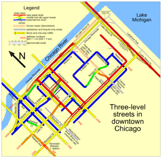 Multilevel streets in Chicago - A map of many of the streets