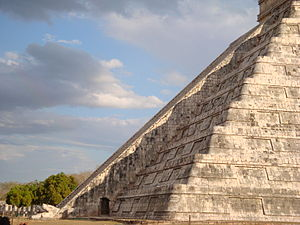 March equinox - Chichen Itza pyramid during the spring equinox—Kukulkan, the famous descent of the snake