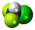 Chlorodifluoromethane 3D spacefill.png