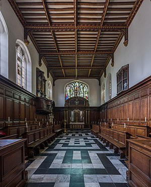 Christ's College, Cambridge - The chapel, with a viewing window from the Master's Lodge