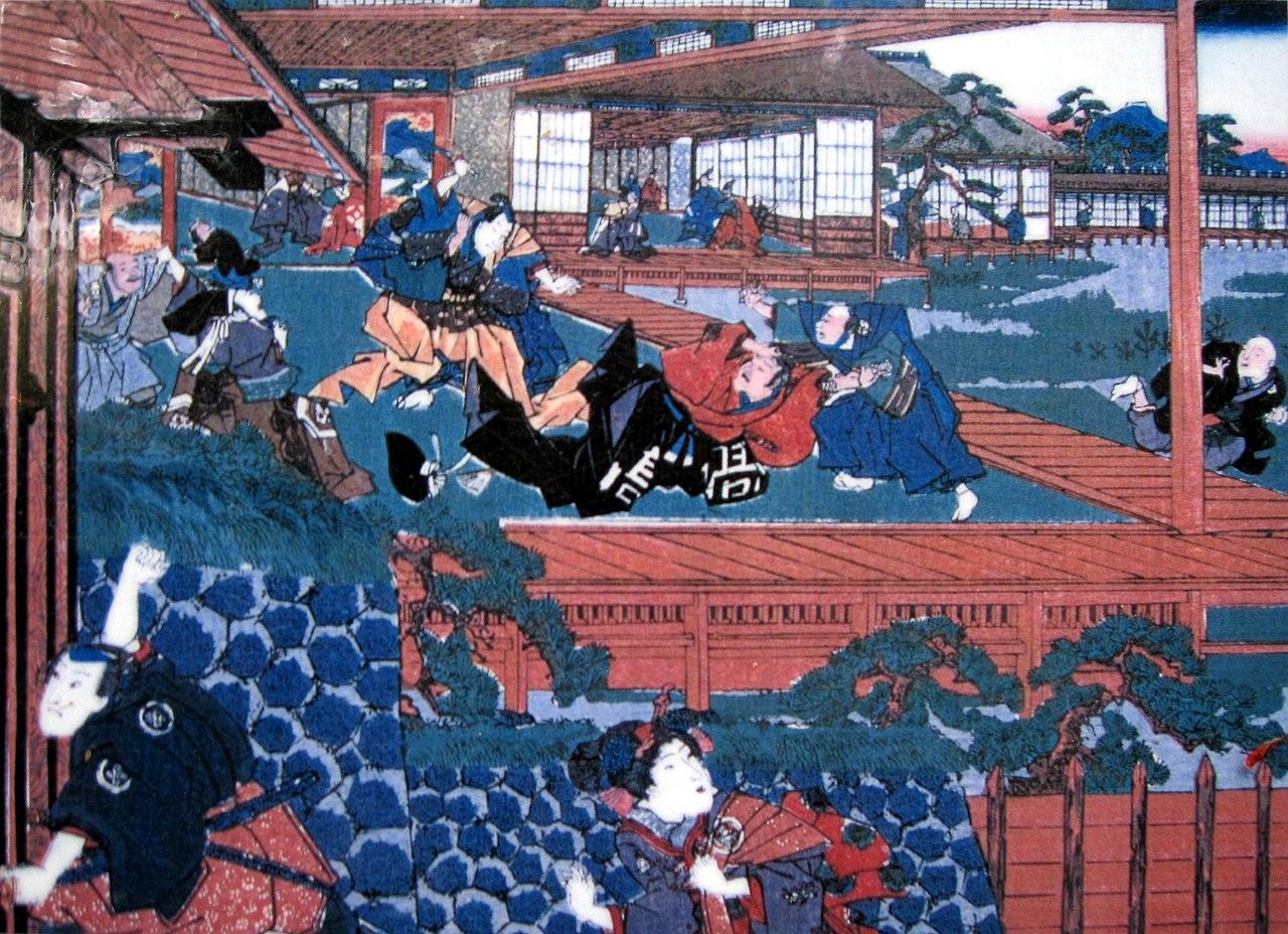 Асано Наганори пытается убить Кира Ёшинака и совершает сэппуку
