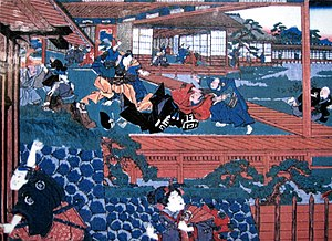 Chūshingura - Ukiyo-e by Utagawa Kuniteru depicting the assault of Asano Naganori on Kira Yoshinaka in the Matsu no Ōrōka of Edo Castle in 1701, an incident that triggered the tragedy of the Forty-seven Ronin