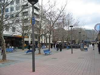 Civic, Australian Capital Territory - City Walk, a pedestrian mall in Civic is a focus of retail activity and outdoor dining.