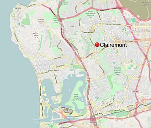 Clairemont, San Diego - Image: Clairemont Mesa Map