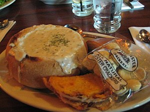 Bread bowl - A clam chowder served in a bread bowl.