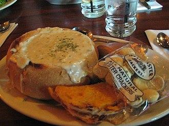 Bread bowl - A clam chowder served in a bread bowl.