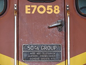 South African Class 7E - Builder's plate on E7058