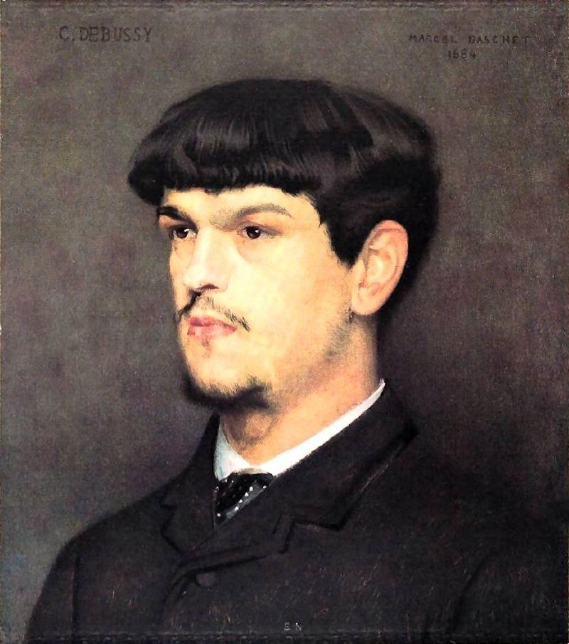 1884年のクロード・ドビュッシーの肖像画マルセル・バシェ(画)Wikipediaより