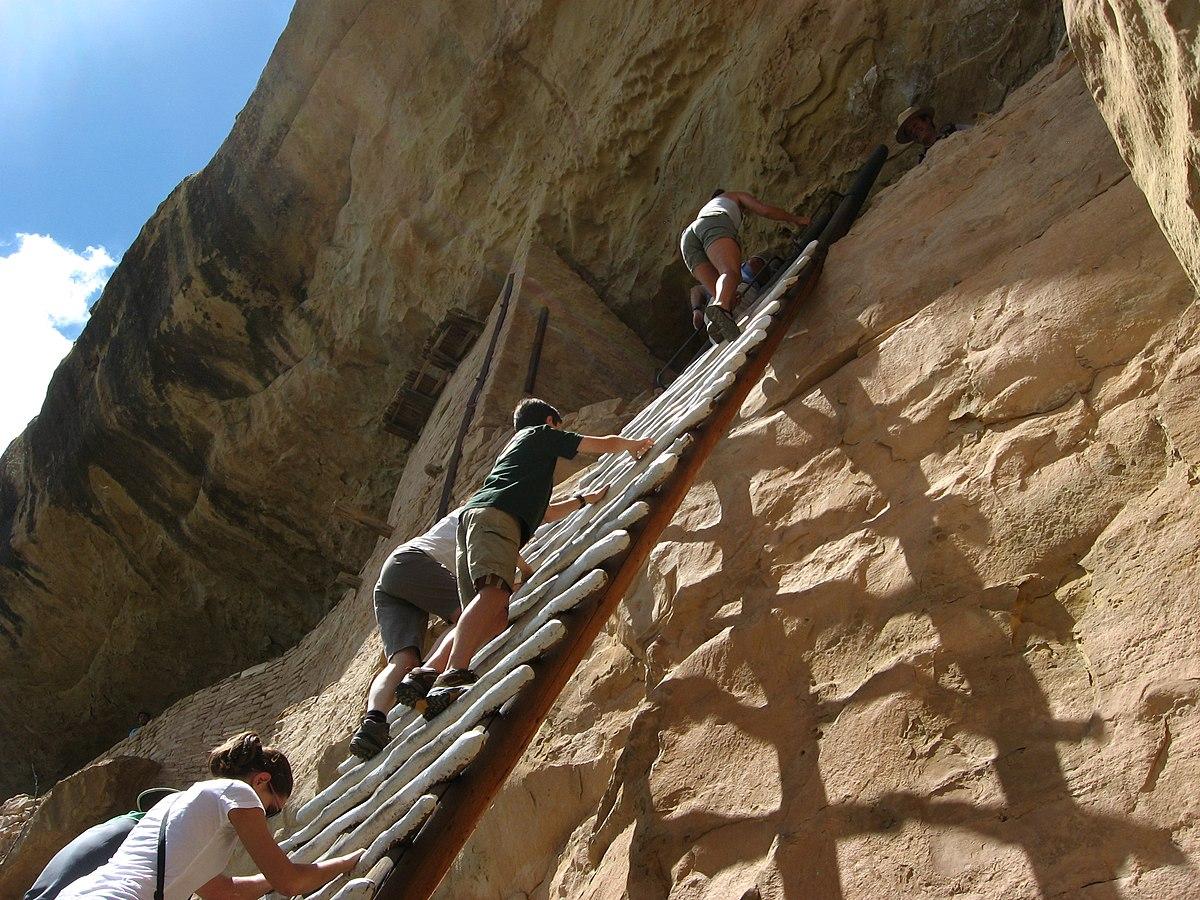 File:Climbing to Balcony House, Mesa Verde National Park ...