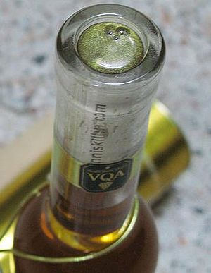 Vintners Quality Alliance - The VQA label on a bottle of Canadian icewine.