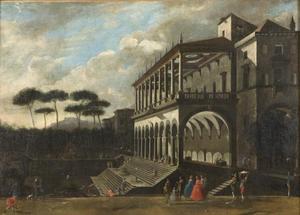 Poggio Reale (villa) - An idealized painting of the Villa Poggio Reale, Viviano Codazzi, c. 1600's.