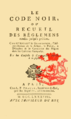 Code noir ou Recueil des règlemens rendus jusqu'à présent, 1788 Titre.png