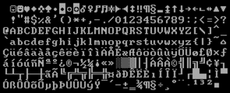 Code page 850 - Code page 850 character set with 9×14 glyphs, as usually rendered by Enhanced Graphics Adapter (EGA)