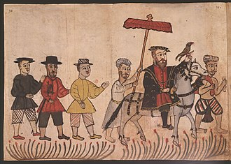 Portuguese Empire - 16th century Portuguese illustration from the Códice Casanatense, depicting a Portuguese nobleman with his retinue in India