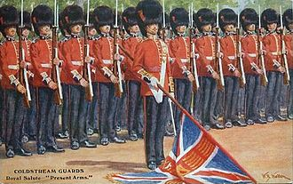 Red coat (military uniform) - Uniform of the Coldstream Guards, c. 1900, in a painting by William Barnes Wollen
