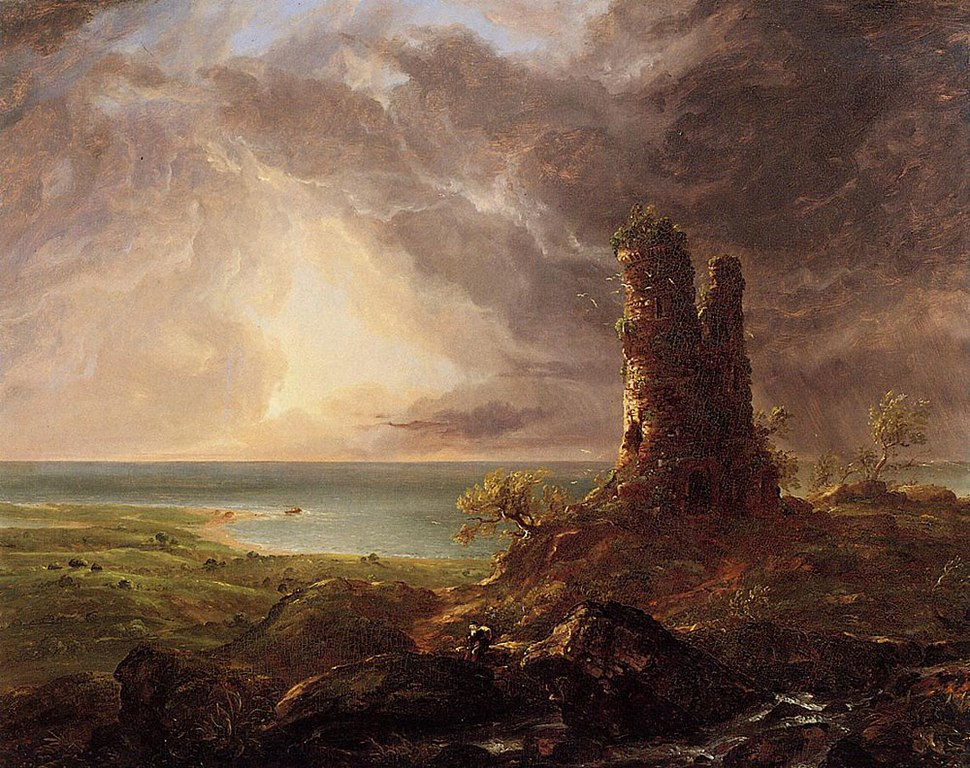 Cole Thomas Romantic Landscape with Ruined Tower 1832-36