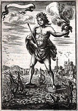 Colosse de Rhodes (Description de l'Univers, II, pl. 127)