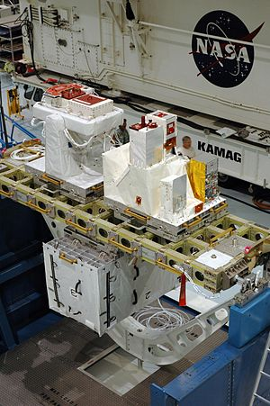 European Technology Exposure Facility - External payloads SOLAR and EuTEF installed on LCC-lite cargo carrier prior to launch on shuttle mission STS-122.