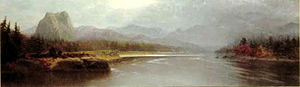 """Vincent Colyer - 'Columbia River, Cascade Mountains, Oregon (1876) by Vincent Colyer (oil on canvas, 19"""" x 60"""", signed in pencil on the stretchers), private collection, featured on the Douglas Frazer Fine Art Web site"""