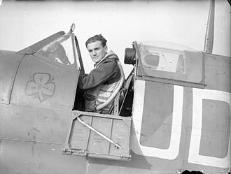 Paddy Finucane - Brendan Finucane in his Spitfire with the Shamrock motif on the fuselage.