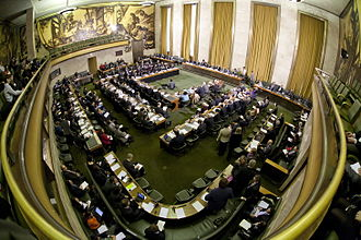 Conference on Disarmament - A meeting of the Conference on Disarmament in the Council Chamber of the Palace of Nations.
