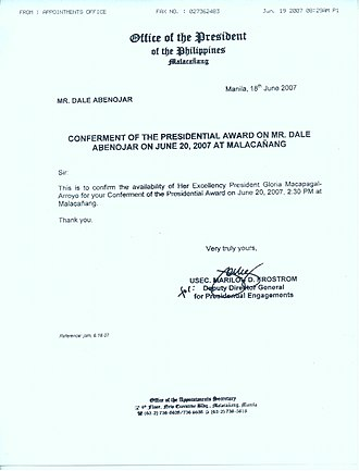 Dale Abenojar - Image: Conferment of Philippine presidential award on Dale Abenojar